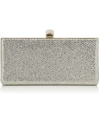 Jimmy Choo - Celeste/s Champagne Glitter Fabric Clutch Bag With Cube Clasp - Lyst