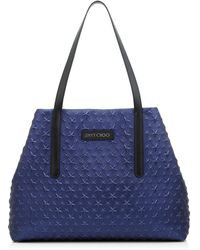 Jimmy Choo - Pimlico/s Navy Metallic Nappa Leather Tote Bag With Embossed Stars - Lyst