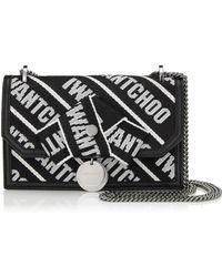 Jimmy Choo - Finley Black And Chalk Logo Tape Cross Body Mini Bag With Bow - Lyst