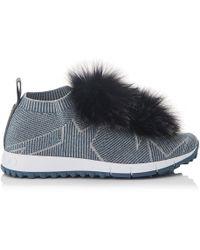 Jimmy Choo - Trainers Norway Fabric Blue Silver Stars Print Pompon Fox Fur Black - Lyst