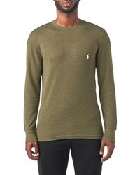 987ecabc Polo Ralph Lauren Waffle-knit Crewneck Thermal in Black for Men - Lyst