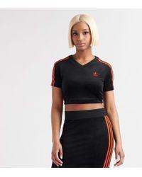 a2c6453f939 adidas Originals 3-stripe Long Sleeve Crop in Black - Lyst