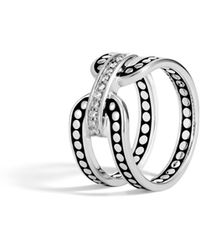 John Hardy - Band Ring In Silver With Diamonds - Lyst