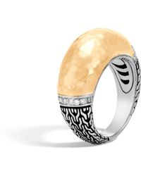 John Hardy | Classic Chain Hammered Dome Ring With Diamonds | Lyst