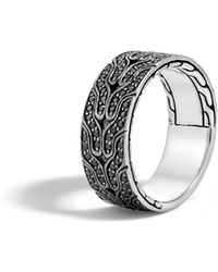 John Hardy - Classic Chain Band Ring With Black Sapphire - Lyst