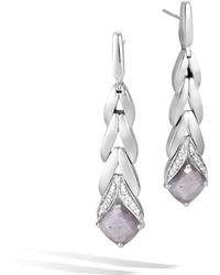 John Hardy - Magic Cut Drop Earring With Silver Sapphire And Diamonds - Lyst