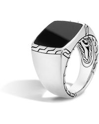 John Hardy - Classic Chain Signet Ring With Black Jade - Lyst