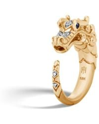 John Hardy - Naga Brushed Ring With Diamonds - Lyst