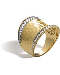John Hardy - Classic Chain Hammered Saddle Ring With Diamonds - Lyst