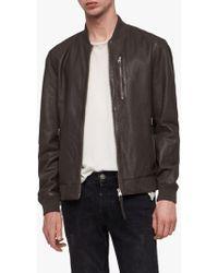 9491d456d3ac5 Allsaints Sanderson Leather Bomber Jacket in Black for Men - Lyst