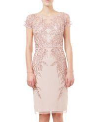 Adrianna Papell - Short Sleeve Beaded Cocktail Dress - Lyst