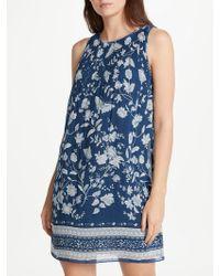 Max Studio | Sleeveless Printed Pleated Dress | Lyst