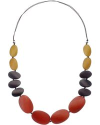 One Button - Long Graduating Pebble Necklace - Lyst