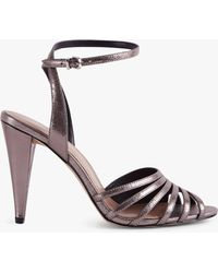 Reiss - Garbo Metallic High Heeled Strappy Sandals - Lyst