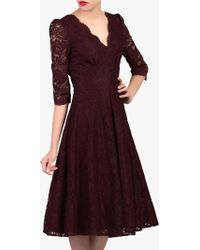 Jolie Moi - Puff Shoulder V-neck Lace Dress - Lyst