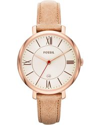 Fossil - Es3487 Women's Jacqueline Three-hand Leather Strap Watch - Lyst
