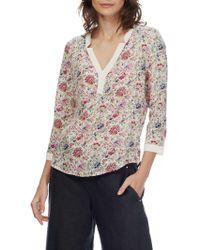 Brora - Liberty Print Silk Collarless Shirt - Lyst
