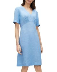 Jaeger - Empire Line Linen Dress - Lyst