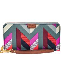 Fossil - Emma Large Printed Zip Clutch Purse - Lyst