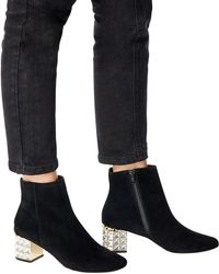 Dune - Ladies Black Cropped Onyxx Embellished Suede Ankle Boots - Lyst
