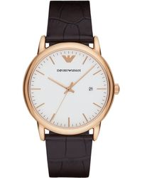 Emporio Armani - Men's Date Leather Strap Watch - Lyst