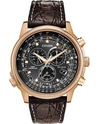 Citizen | Men's Eco-drive Chronograph Date Leather Strap Watch | Lyst