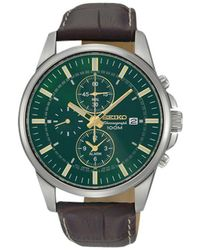 Seiko - Snaf09p1 Men's Chronograph Leather Strap Watch - Lyst