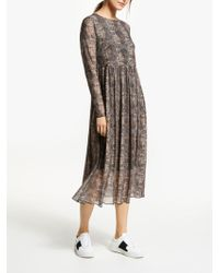 Numph - Freja Snake Print Smock Dress - Lyst