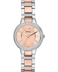 Fossil - Women's Virginia Two Tone Stainless Steel Bracelet Strap Watch - Lyst