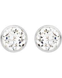 Ib&b - 9ct White Gold Round Cubic Zirconia Stud Earrings - Lyst
