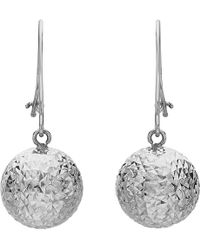 Ib&b - 9ct White Gold Ball Diamond-cut Drop Earrings - Lyst