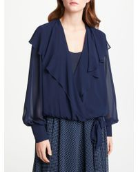 Bruce By Bruce Oldfield - Wrap Over Tie Waist Blouse - Lyst