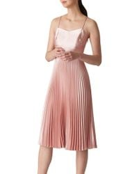 Whistles - Satin Pleated Strappy Dress - Lyst