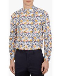 da9bb40b6 Ted Baker Jonpay Long Sleeve Printed Shirt in White for Men - Lyst