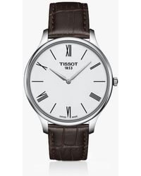 Tissot - T0634091601800 Men's T-classic Tradition 5.5 Leather Strap Watch - Lyst