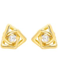 Ib&b - 9ct Yellow Gold Cubic Zirconia Triple Square Stud Earrings - Lyst