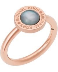Michael Kors - Mother Of Pearl Logo Ring - Lyst
