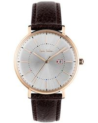 paul smith five eyes stainless steel watch in metallic for men lyst paul smith men s track date leather strap watch lyst