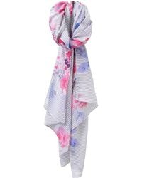 Joules - Wensley Stripe And Floral Print Scarf - Lyst