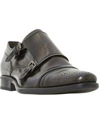 Bertie - Reggi Leather Brogue Monk Shoes - Lyst