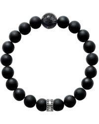 Thomas Sabo - Rebel At Heart Beaded Obsidian Sterling Silver Bracelet - Lyst