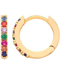 Estella Bartlett - Cubic Zirconia Pave Set Hoop Earrings - Lyst