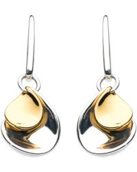 Kit Heath - Double Petal Sterling Silver 18ct Gold Plated Drop Earrings - Lyst