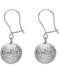 John Lewis - Ibb 9ct White Gold Ball Diamond-cut Drop Earrings - Lyst