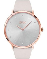 BOSS - Women's Leather Strap Watch - Lyst
