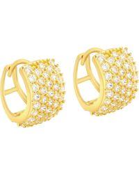 Ib&b | 9ct Yellow Gold 5 Row Cubic Zirconia Huggy Earrings | Lyst