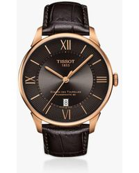 Tissot - T1019101112100 Men's Chemin Des Tourelles Powermatic 80 Leather Strap Watch - Lyst