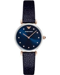 Emporio Armani - Ar1989 Women's Crystal Leather Strap Watch - Lyst