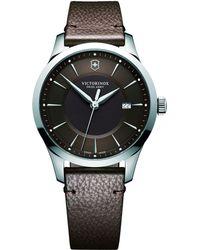 Victorinox - 241805 Men's Alliance Date Leather Strap Watch - Lyst