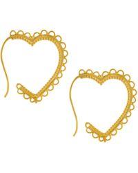Alex Monroe - 22ct Gold Vermeil Lace Edge Heart Hoop Earrings - Lyst